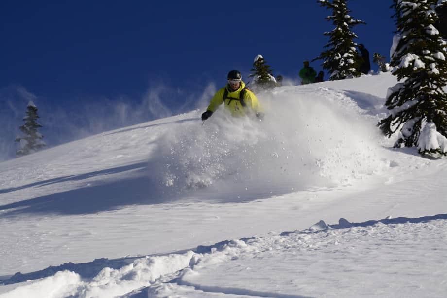 Epic powder ski demonstration on ski instructor course