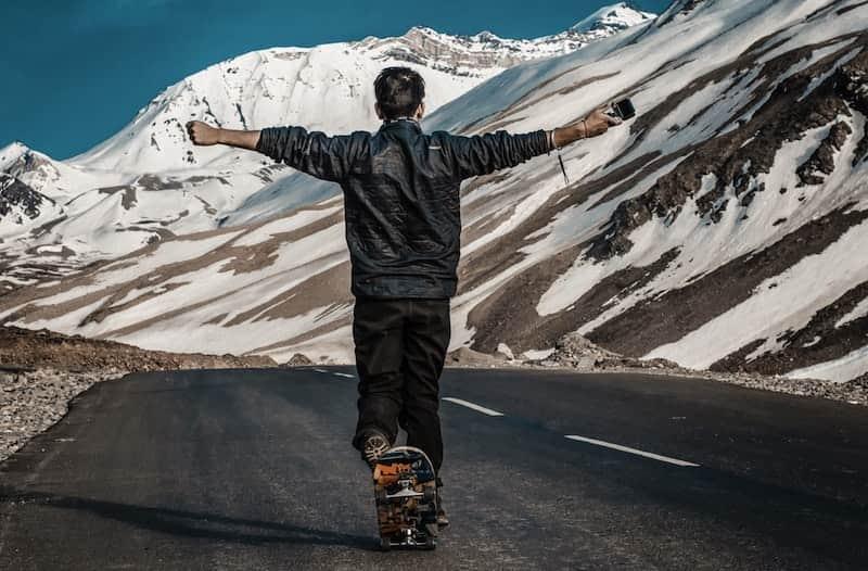 skateboarding mountain road